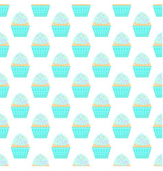 seamless pattern with capcakes on a white vector image
