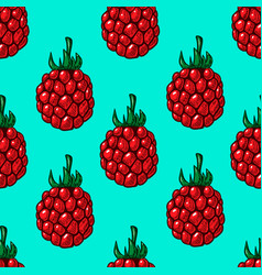 seamless pattern with raspberries design element vector image