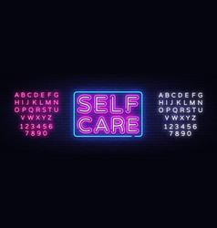 Self care neon sign motivational feel good vector