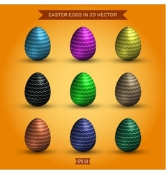 set easter eggs colored high-quality vector image