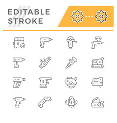 set line icons of electric tools vector image