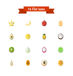 Set of 16 editable fruits icons includes symbols vector