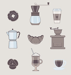 Set of Coffee Types and Coffee Accessories vector image