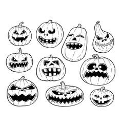 Set of cute hand drawing halloween pumpkin vector