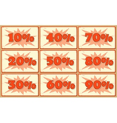 Set of labels with sale percents vector image
