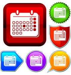Set shiny icon series on buttons calendar vector