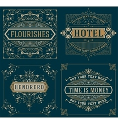 Set vintage cards template vector