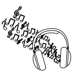Silhouette headphones with musical notes vector