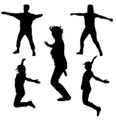 silhouette of young people jumping with hands up vector image