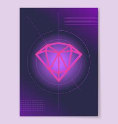 Sketch precious diamond on circle lines crystal vector