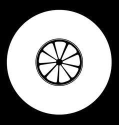 Slice of lemon or orange fruit simple black icon vector
