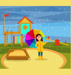 Smiling little girl in yellow raincoat walking vector