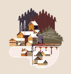 Snowy winter landscape with coniferous forest vector