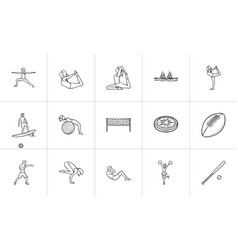 Sport hand drawn outline doodle icon set vector