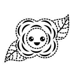 sticker flower kawaii cartoon natural vector image