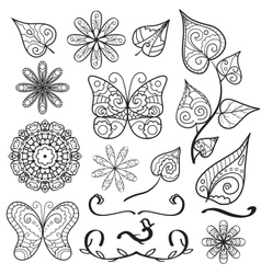 Summer hand drawn elements set vector