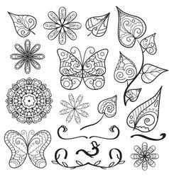 Summer hand drawn elements set vector image