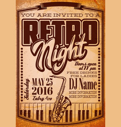 template in retro style for a party with a vector image
