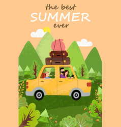travelers in car mountain view summer vector image
