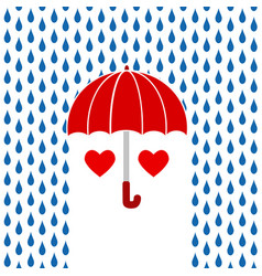 two red hearts under red umbrella on rain vector image
