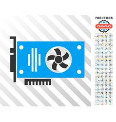 videocard flat icon with bonus vector image