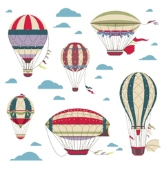 Vintage hot air balloons set for festival vector