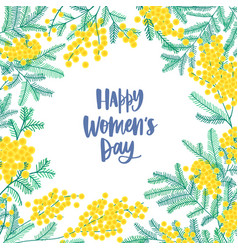 Womens day square greeting card template vector
