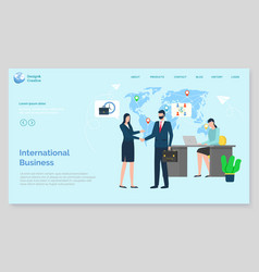 workers handshake international business vector image