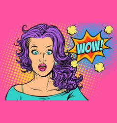Wow surprised woman vector
