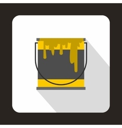 Yellow paint can icon flat style vector
