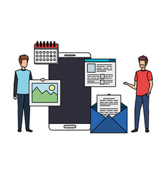 Young men with smartphone and webpage icons vector
