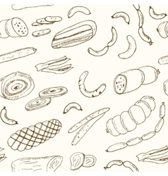 Sausages seamless pattern Hand drawn vector image vector image