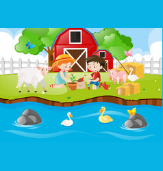 two kids planting tree by the river vector image vector image
