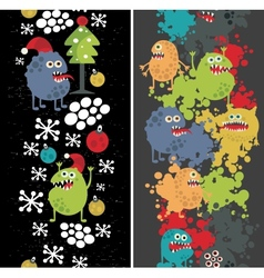 Two vertical seamless patterns with monsters vector image vector image
