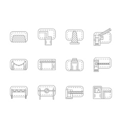 Set of barricades flat line icons vector image