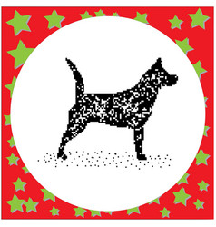 black 8-bit dog standing isolated vector image