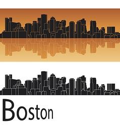 Boston skyline in orange background vector image