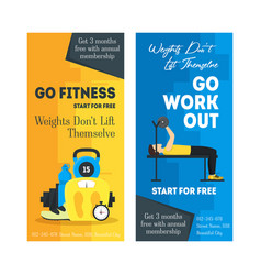 cartoon fitness sport banner card vertical set vector image vector image