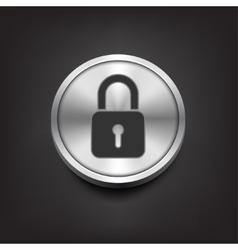 Closed lock icon on silver button vector image