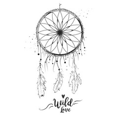 dreamcatcher with bird feather beads lace amp vector image