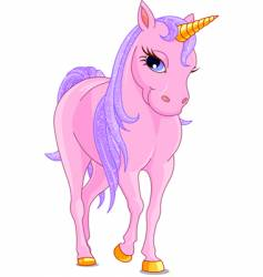 pink unicorn vector image