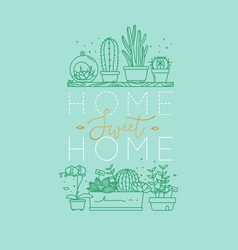 Shelf with flowers home sweet home turquoise vector