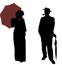 Vintage people silhouettes vector image vector image