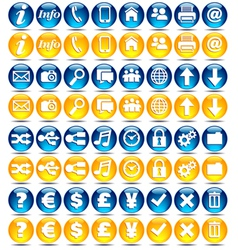 32 Blue and Orange icons vector image vector image