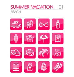 beach icon set summer vacation vector image vector image