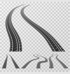 curved tire tracks stretching to the horizon vector image vector image