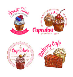 dessert cakes and cupcakes icons vector image vector image