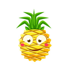 shy funny pineapple emoticon cute cartoon emoji vector image vector image