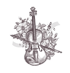 Vintage fiddle Hand-drawn retro the violin and vector image