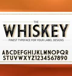 Vintage Label Font with decorative shadow vector image